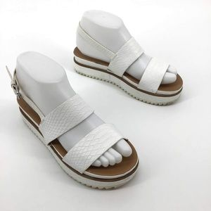 Zara white snake skin platform sandals, size 7
